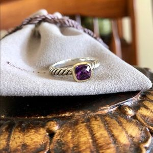 David Yurman Amethyst Ring in Silver & 18K Gold